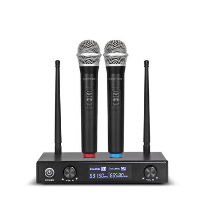 Pro Audio UHF Wireless Microphone System 2 Channel Handheld Mic Karaoke Dynamic Dynamic Handheld Microphone Audio