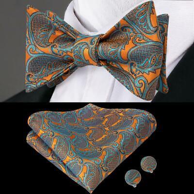 Orange Blue Paisley Self Bow Tie Classic Mens Silk Necktie Bowtie Set Party Orange Silk Bow Tie