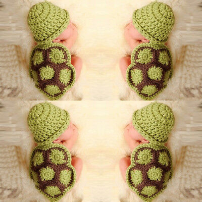 Cute Baby Newborn Turtle Knit Crochet Clothes Hat Outfit Photo Props Excellent ()