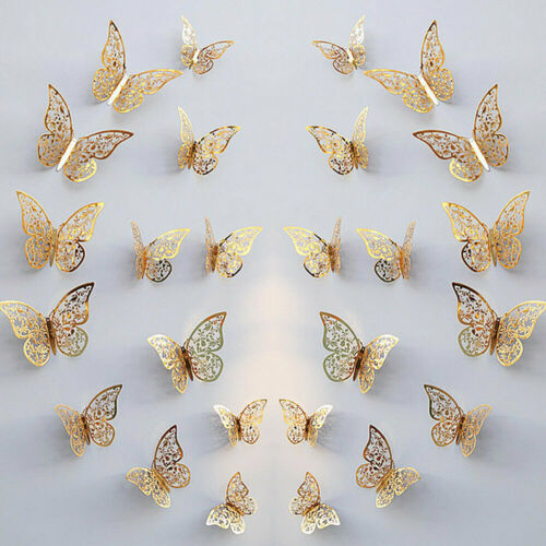 Home Decoration - 24Pcs 3D DIY Wall Decal Stickers Butterfly Home Room Art Decor Decorations AU