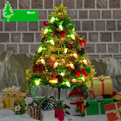 US Tabletop Artificial Mini Christmas Tree With LED Lights Ornaments Xmas Decor ()