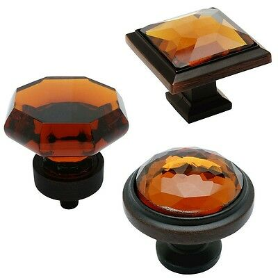 Cosmas Oil Rubbed Bronze & Amber Glass Cabinet Hardware Knobs & (Amber Glass Cabinet Knobs)