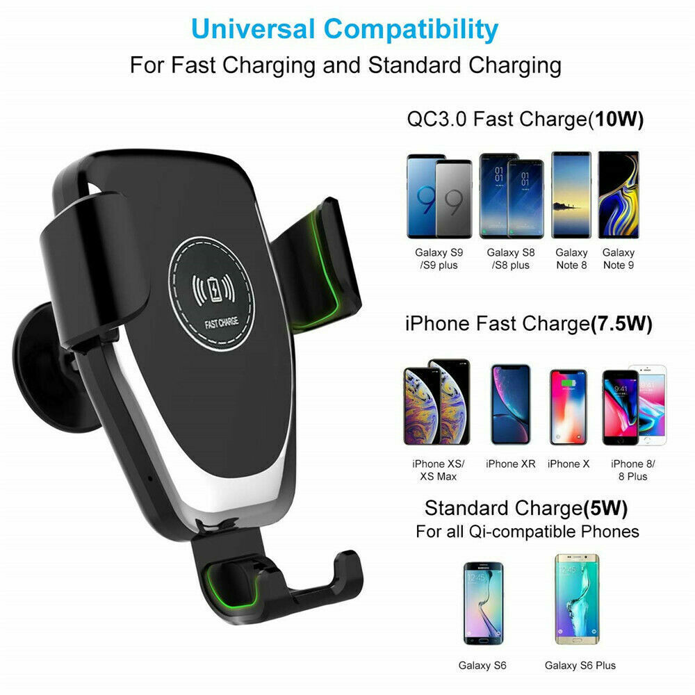 10W QI Wireless Fast Charger Car Mount Holder Stand For iPhone X XS Samsung S9 Cell Phone Accessories