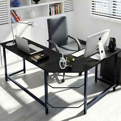 L-Shaped Computer Desk Home Office Furniture Corner Student Study Wood Laptop PC