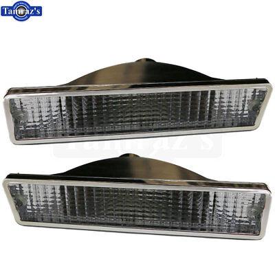 81-86 Cutlass Front Bumper Parking Marker Turn Light Lamp Lens CLEAR - Pr. (Front Parking Lens)
