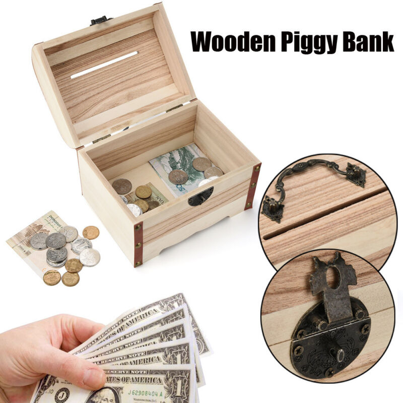 Wooden Piggy Bank Vintage Wood Safe Money Coins Saving Box Safety Case with Lock