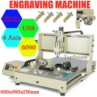 4 Axis 2.2kw Cnc 6090 Router Usb Engraver Metal 3d Milling Carving Machine 2200w