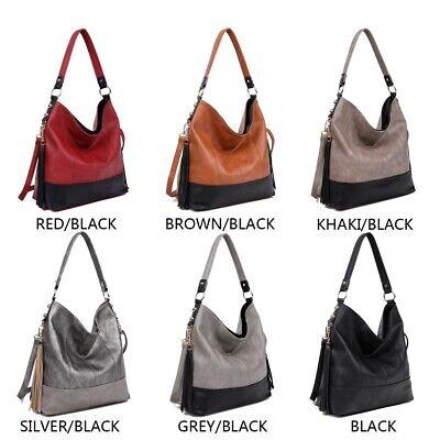 Ladies HOBO Handbag Tassel Shoulder Bag Women's PU Leather Casual Tote Bag