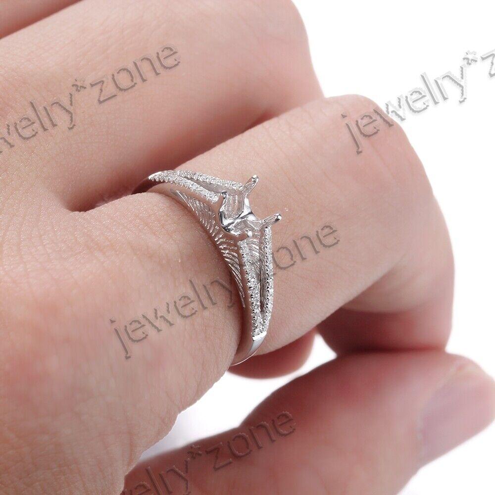 5-5.5mm Round Cut 14K White Gold Semi Mount Split Shank Diamonds ...