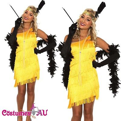 1920s 20s Flapper Charleston Fancy Dress Costume Yellow Gatsby Necklace Boa - Yellow Flapper Dress