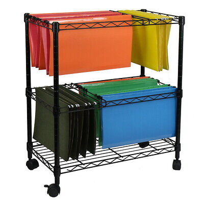 Two Tier Metal Rolling Mobile File Cart 23.6 X 12.6 X 27.6 Office Supplies Usa