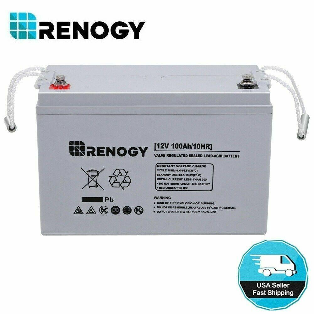 Renogy 100Ah 200Ah 12V Deep Cycle AGM Rechargeable Solar Bat