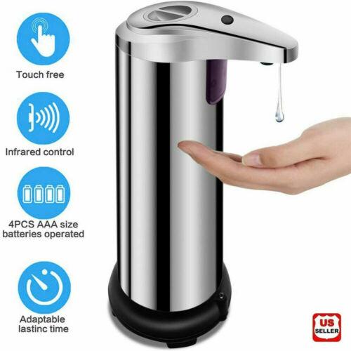 250ml Stainless Auto Handsfree Sensor Touchless Soap Dispenser Kitchen Bathroom Bath