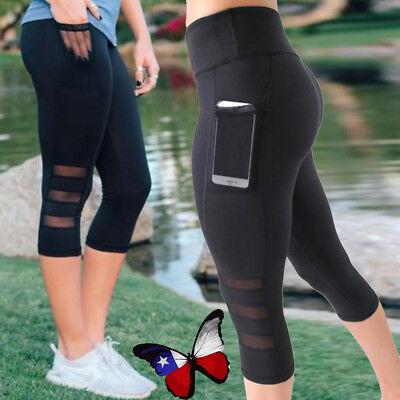Workout Womens Capris - Womens Capri YOGA Workout Running Gym Sport Pants Leggings Fitness Black Mesh
