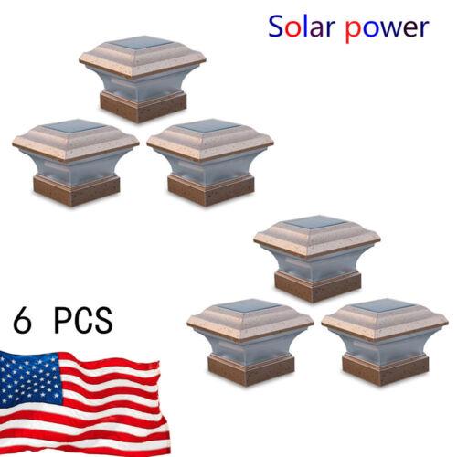 NEW 6 Pack LED Solar Powered Post Deck Cap Square Garden Fen
