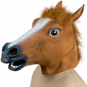 RUBBER HORSE HEAD MASK PANTO FANCY DRESS PARTY COSPLAY HALLOWEEN ADULT COSTUME
