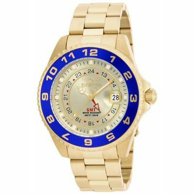 New Invicta 17153 Men's Pro Diver Gold Dial Blue Bezel GMT Dive 47mm Watch SALE