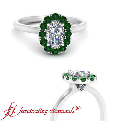 Oval Shaped Diamond And Emerald Gemstone Simple Halo Engagement Ring 0.90 Carat