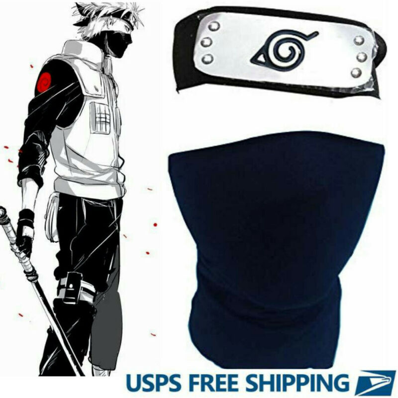 Naruto for Anime Cosplay Ninja Headband Leaf Village + Black Kakashi Mask