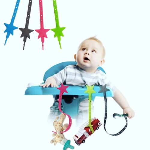 Non-toxic Baby Star Pacifier Chain Strap Silicone Stroller Hook Baby Toy Holders