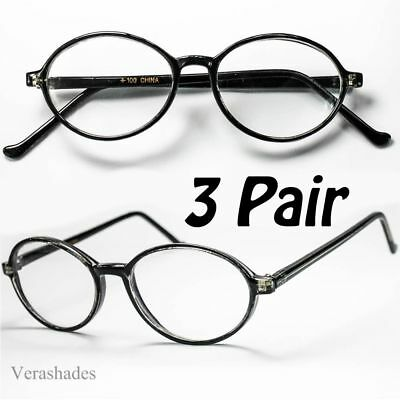 3 PACK READING GLASSES OVAL ROUND VINTAGE STYLE READERS JOHN LENON Harry Potter - Lenon Glasses