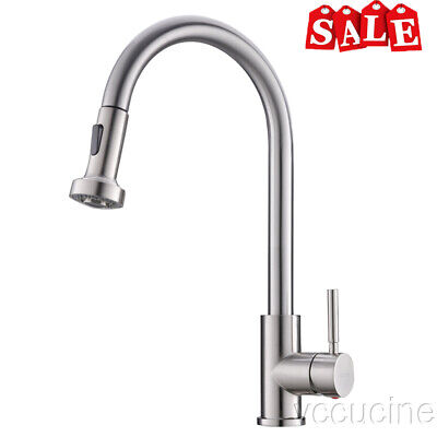 VCCUCINE Brushed Nickel Pull Down Single Handle Single Hole Kitchen Faucet