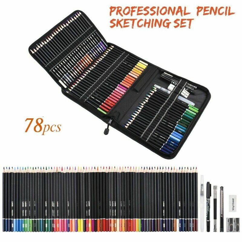 78Pcs Drawing Sketch Pencils Set Watercolor Pencils Art Sketching USA