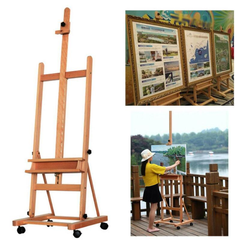 Adjustable 360 Artist Durable Wooden Easel Painters Studio Drawing W/Board Wheel