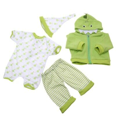Reborn Doll Clothes Suit For 22-23 inch Doll Cospaly Green dinosaur Clothing Set