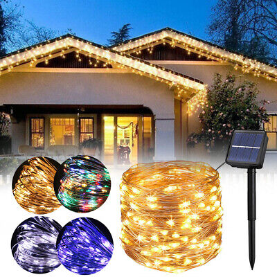 200LED Solar String Lights Waterproof 10/20M Copper Wire Fairy Outdoor Garden UK