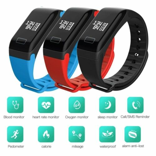 F1 Blood Pressure/Oxygen Heart Rate Monitor Smart Watch Brac