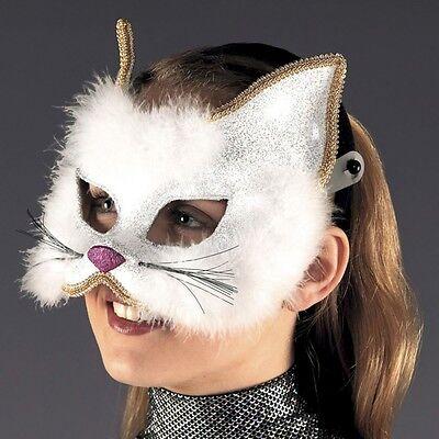 White Marabou & Glitter Cat Mask - Animal Fancy Dress - Cats Dance Costume ()