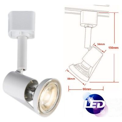 (LED Mains Track Spot Down Light Cool White Head Single Circuit GU10 Lamp Ceiling)