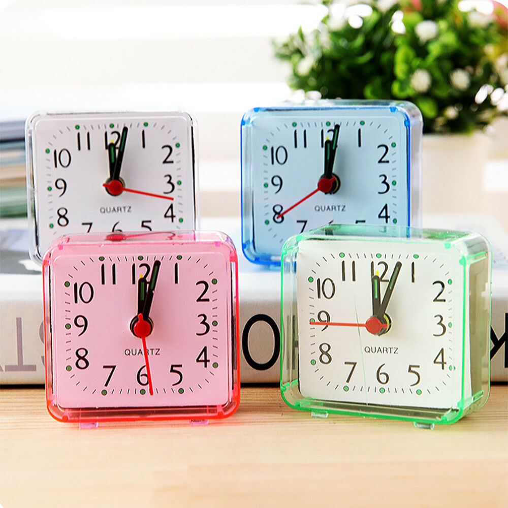 Square Small Bed Compact Travel Quartz Beep Alarm Clock Cute Portable