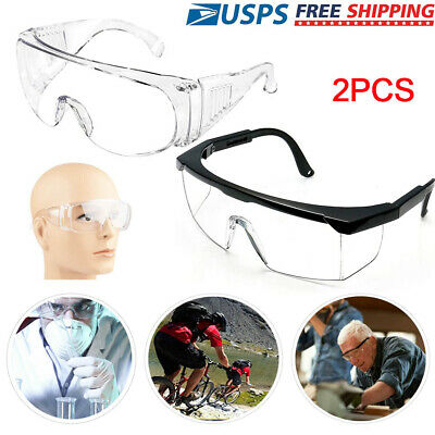 2 Pair Clear Safety Anti Fog Goggles Glasses For Work Lab Outdoor Eye Protection