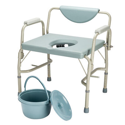 (Drive Medical Heavy Duty Bedside Toilet Shower Chair Commode Chair Seat Bathroom)