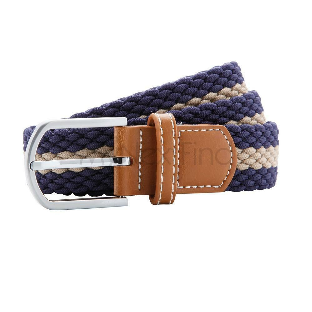 Belt  Braided  Mens Womens Leather Rubber One Size 2 Colours Black Tan