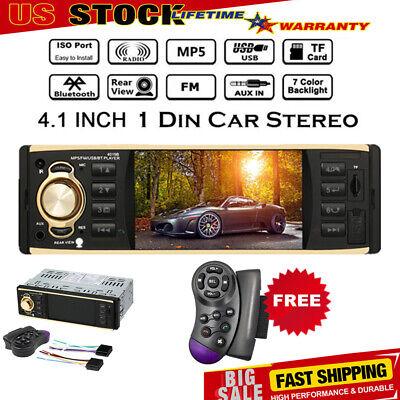"4.1"" HD 1DIN Car Radio Stereo Video MP5 Player Bluetooth FM AUX USB SD TF R2W7"
