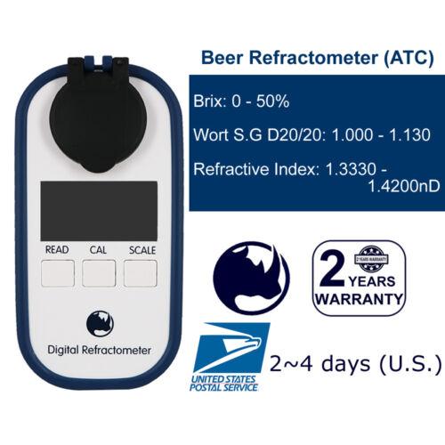 Beer Wort SG 1.000 - 1.130 & Brix 0-50% Rhino Digital Refractometer Waterproof