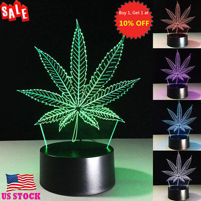 Leaf Shaped 3D LED Night Light 7 / 16 Color Change LED Table Desk Lamps Lights