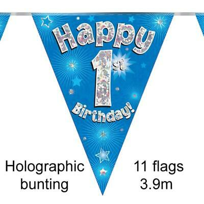 Happy 1st Birthday Holographic Triangular Party Foil Banner Bunting - Age 1 Blue