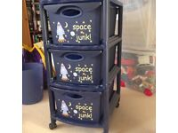Blue rocket set of drawers, clock, bin and lamp shade