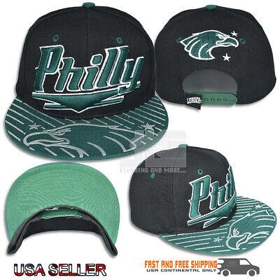 Eagle Flat (Philly Flat Shine Visor Eagle Rubber Print Adjustable Hat Cap Black Green Bill)