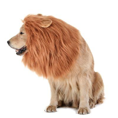NEW Dog Lion Mane WITH EARS Realistic Costume Wig SIZE FOR  Medium to Large
