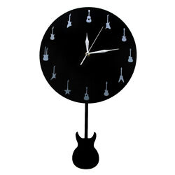 Modern Guitar Wall Clock With Swinging Guitar Pendulum Music Studio Time Clock