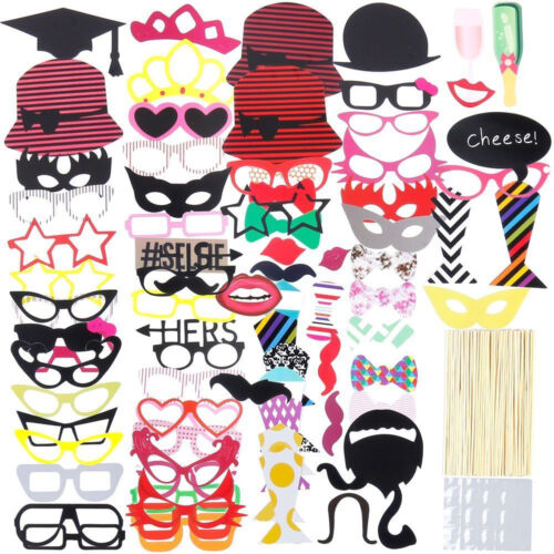 76PCS DIY Maske Fotoautomat Requisiten Schnurrbart auf einem Stick Hochzeit
