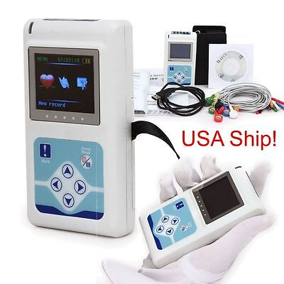 Handheld 12-channel 24h Ecg Ekg Holter Analyze System Recorder Software Monitor