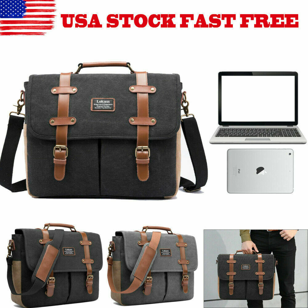 15.6 Canvas Genuine Leather Laptop Shoulder Messenger Bag Business Briefcase US - $39.99