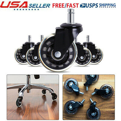5pcs 3 Swivel Caster Office Chair Wheel Heavy Duty Rubber Base With Mount Holes