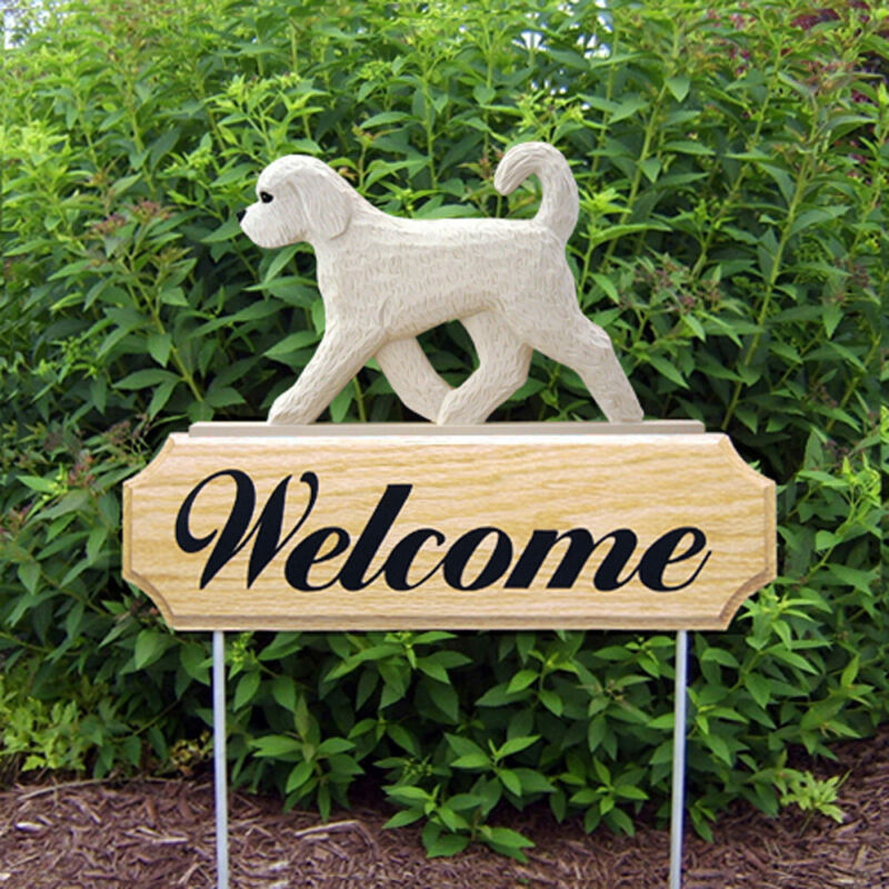 Goldendoodle Wood Welcome Outdoor Sign White
